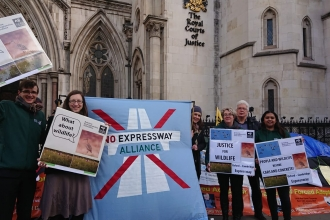 BBOWT protesting the Expressway outside the Royal Courts of Justice