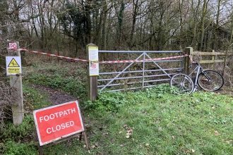 HS2 close footpath at Calvert Jubilee