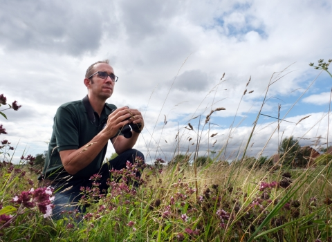 Ecology officer Colin surveying for birds